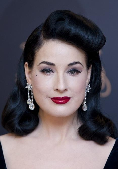 1950's Hairstyle: Dita's Classic Long Black Retro Hairstyle For Long Hairstyles In The 1950s (View 10 of 15)