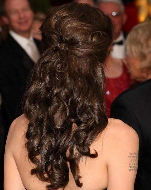 Angelina Jolie Long Hairstyles: Half Up Half Down Hairstyle For Within Long Hairstyles Half Up Curls (View 8 of 15)