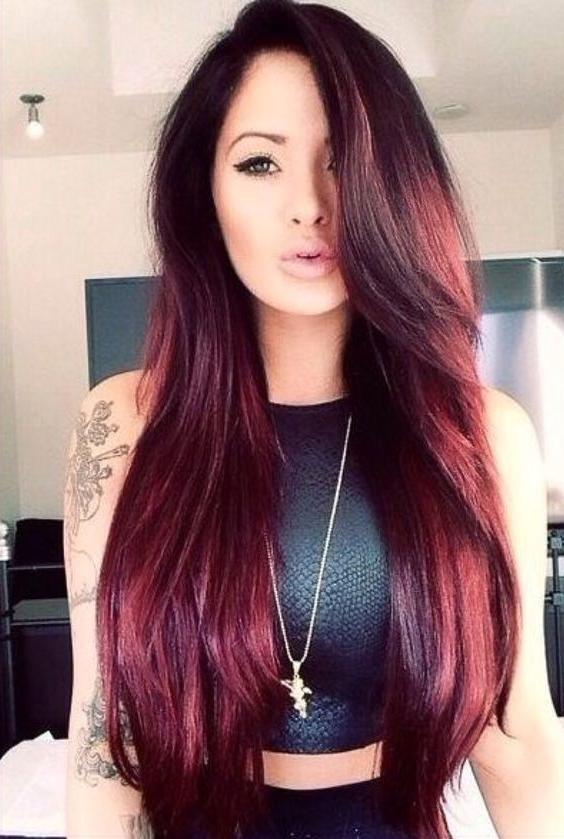Best 25+ Long Burgundy Hair Ideas On Pinterest | Long Purple Hair Inside Long Hairstyles And Color (View 10 of 15)