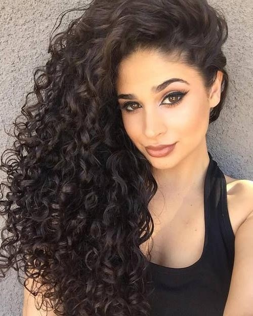 Natural Curly Hairstyles All Down Hairstyle For With Regard To Long Naturally