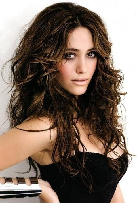 Brown Messy Hairstyle For Long Hair – Emmy Rossum's Hairstyles Intended For Long Hairstyles Brown (View 12 of 15)