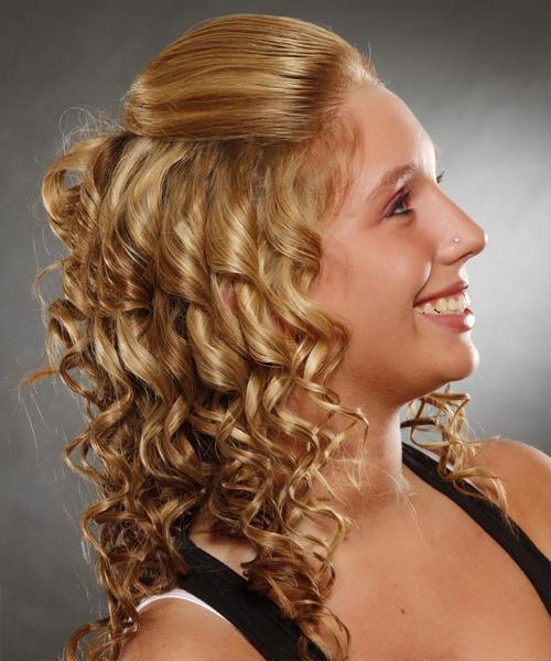 Half Up Curly Casual Hairstyle – Medium Blonde (Ginger For Long Hairstyles Half Up Curls (View 13 of 15)