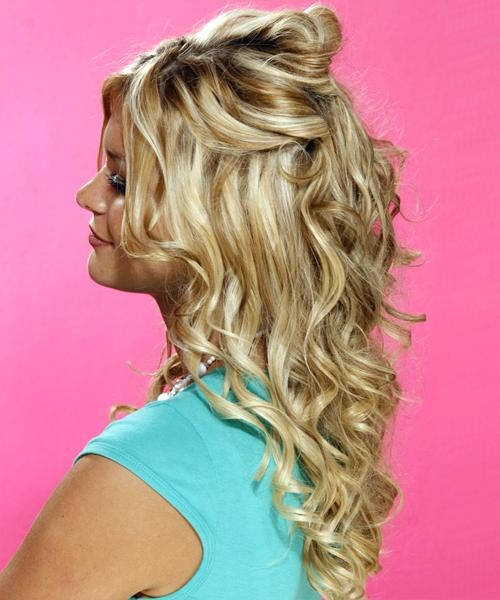 Half Up Curly Formal Hairstyle – Medium Blonde (Golden With Long Hairstyles Half Up Curls (View 14 of 15)