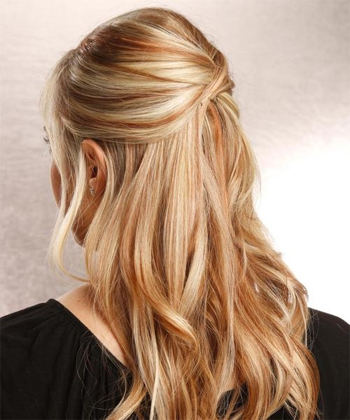 Half Up Straight Casual Hairstyle – Medium Blonde | Thehairstyler Inside Long Hairstyles Half Up (View 11 of 15)