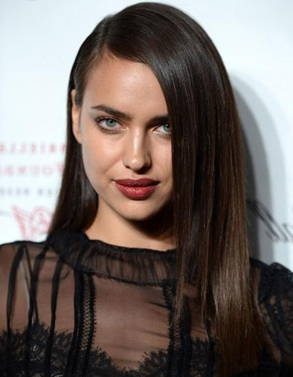 Irina Shayk's Long Straight Hairstyle With Deep Side Part – Prom For Long Hairstyles Deep Side Part (View 12 of 15)