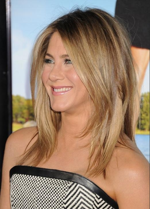 Jennifer Aniston Medium Jagged Hairstyle For Straight Hair In Long Jagged Hairstyles (View 9 of 15)