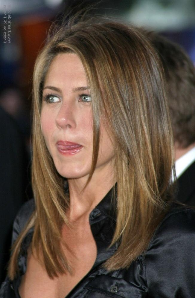 Jennifer Aniston's Hair Cut In Long Layers With Angles Along The Sides For Long Layered Hairstyles Jennifer Aniston (View 13 of 15)