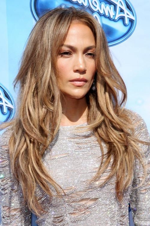 Jennifer Lopez Straight Medium Brown All Over Highlights, Angled Within Long Layered Hairstyles Jennifer Lopez (View 3 of 15)
