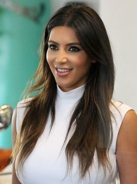 Kim Kardashian Casual Brown Long Haircuts – Popular Haircuts Within Long Hairstyles Brown (View 13 of 15)
