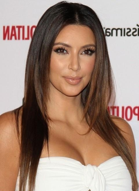 Kim Kardashian Hairstyles: Center Parted Layered Haircut – Pretty Regarding Long Layered Hairstyles Kim Kardashian (Gallery 7 of 15)