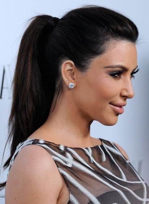 Kim Kardashian Hairstyles: Ponytail Hairstyle For Straight Long With Long Hairstyles Ponytail (View 13 of 15)