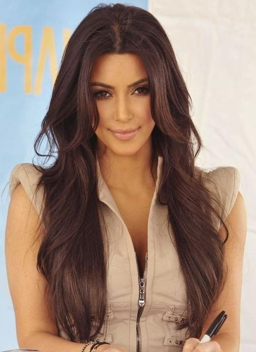 Kim Kardashian Long Hairstyles: Brown Hair – Popular Haircuts Throughout Long Hairstyles Brown (Gallery 1 of 15)
