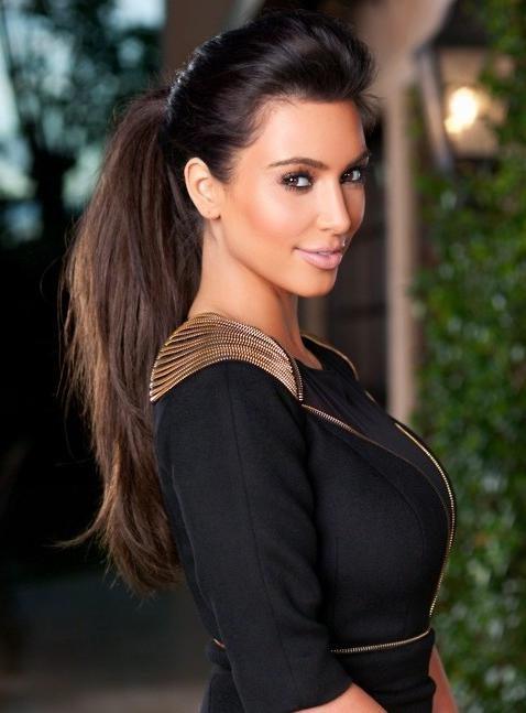 Kim Kardashian Long Hairstyles: High Ponytail Hairstyle – Popular For Long Hairstyles In A Ponytail (View 12 of 15)