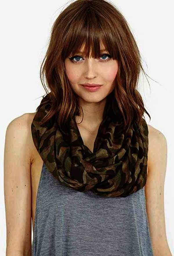 Mid Length Hairstyles Fine Hair Round Face Medium With Long Bangs For