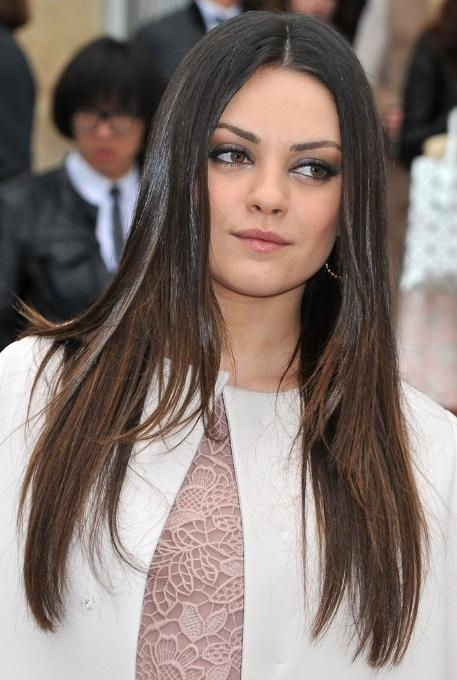 Mila Kunis, Ombre Long Hairstyles For Straight Hair – Popular Haircuts Regarding Long Hairstyles For Straight Hair (View 14 of 15)