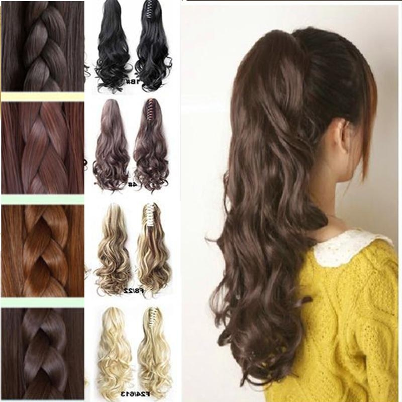 New Style Lady Thick Hair Wavy Curly Ponytail Claw On Clip In Hair With Regard To Hair Clips For Thick Long Hair (View 10 of 15)