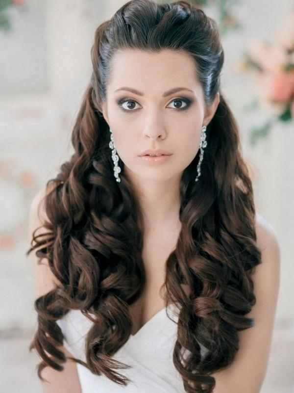 Pulled Back Curls Long Curly Wedding Hair Styles – Nail And Hair Regarding Long Hairstyles Pulled Back (View 14 of 15)