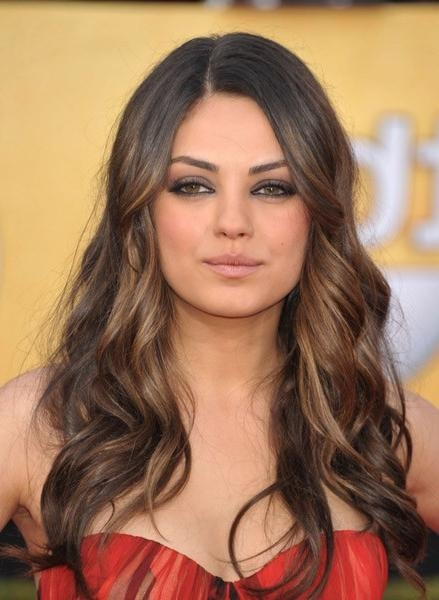 Red Carpet Hairstyles: Subtle Golden Dip Dye On Long Waves Inside Long Hairstyles Dip Dye (View 10 of 15)