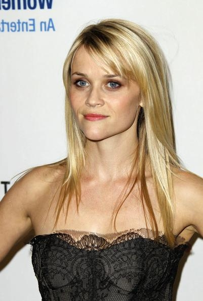 Reese Witherspoon Long Straight Cut With Bangs – Reese Witherspoon With Regard To Long Hairstyles Reese Witherspoon (View 14 of 15)