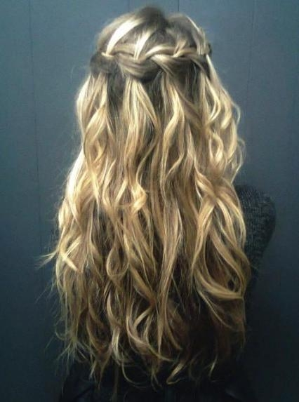 Waterfall Braid For Curly Hair – Long Curly Hairstyle With Braid In Long Curly Braided Hairstyles (View 15 of 15)