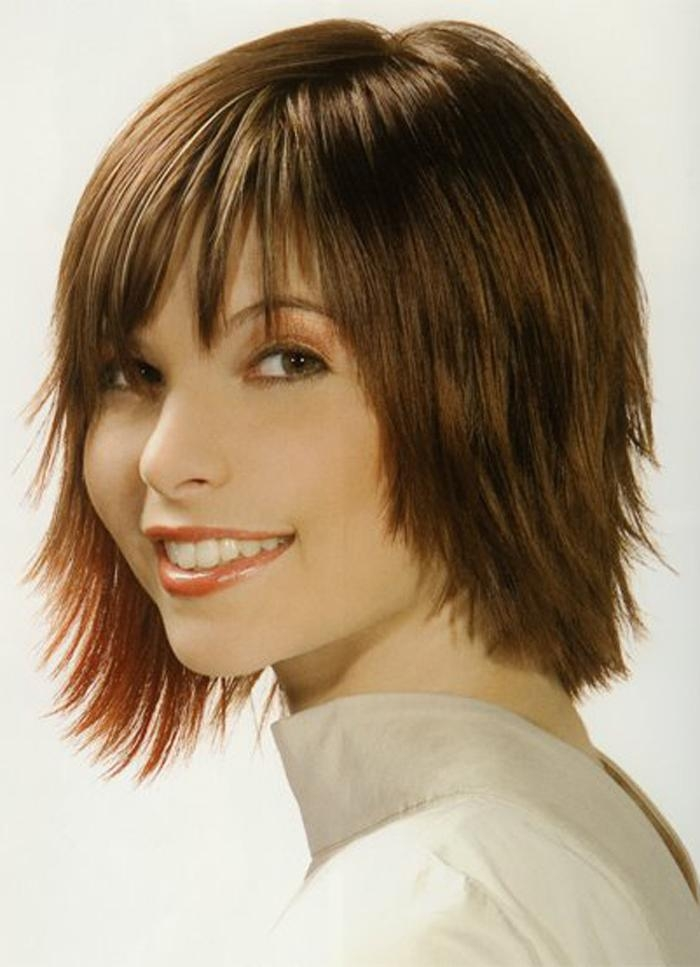 Chunky Layered Haircuts Short To Medium Hairstyles With Bangs For Short To Medium Hairstyles With Bangs (View 1 of 15)