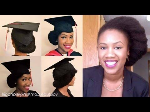 How To Wear Natural Hair Underneath Graduation Cap – Youtube Inside Graduation Cap Hairstyles For Short Hair (View 13 of 15)