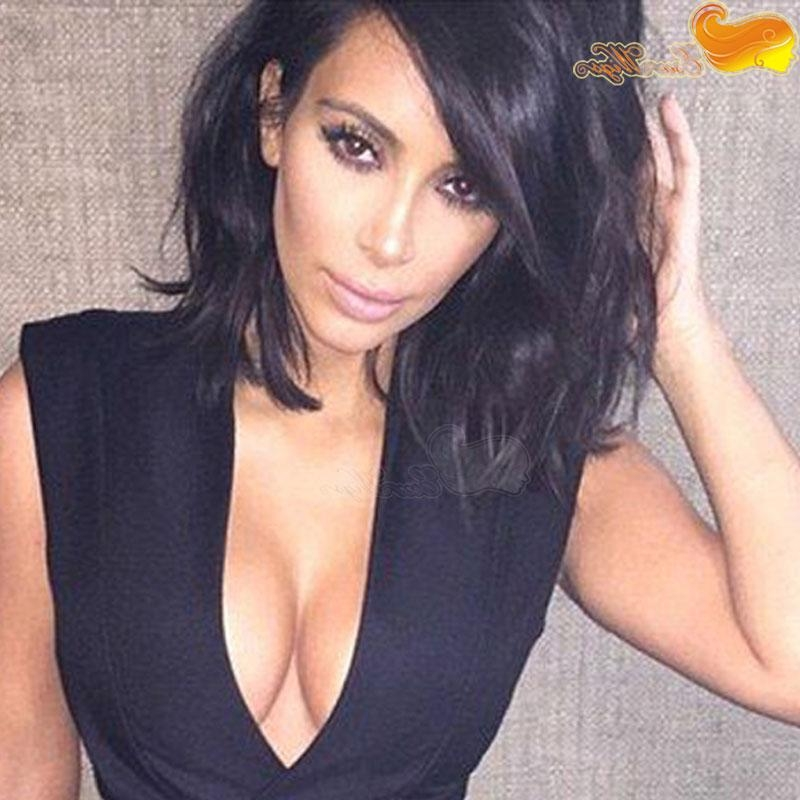 Kim Kardashian Short Bob Haircut Virgin Peruvian Human Hair Wig Throughout Kim Kardashian Short Hairstyles (Gallery 13 of 15)