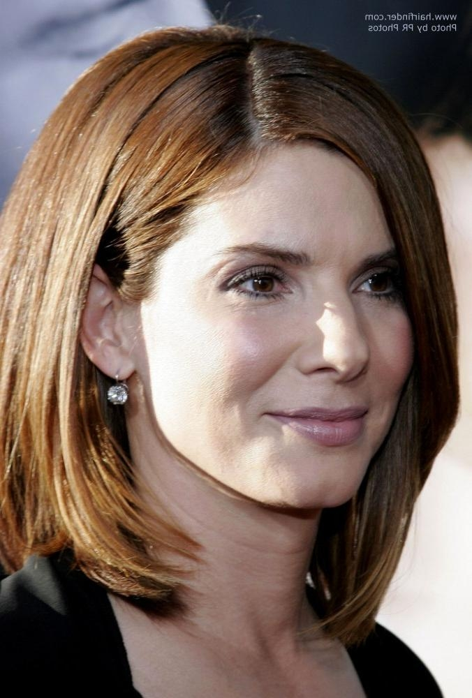 Sandra Bullock Sporting A Timeless Classic Hairdo | Trendy Long Bob Within Semi Short Layered Hairstyles (View 10 of 15)
