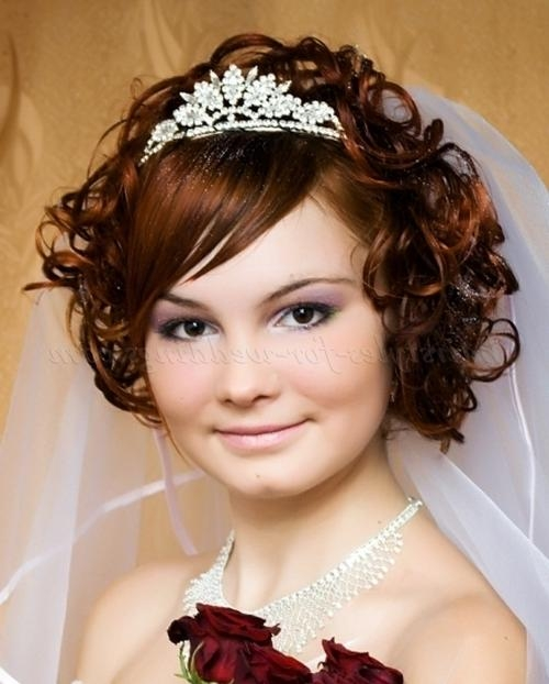 Short Wedding Hairstyles For Curly Hair – Wavy Bridal Hairstyle Inside Brides Hairstyles For Short Hair (View 14 of 15)