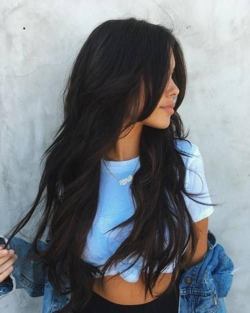 Best 25+ Long Dark Hairstyles Ideas On Pinterest | Long Dark Hair Throughout Black Hair Long Layers (View 9 of 15)