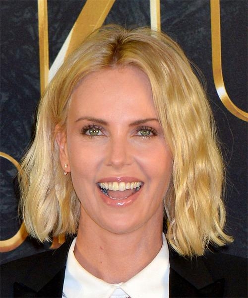 Charlize Theron Medium Wavy Casual Bob Hairstyle – Light Blonde Regarding 2018 Charlize Theron Bob Hairstyles (View 2 of 15)