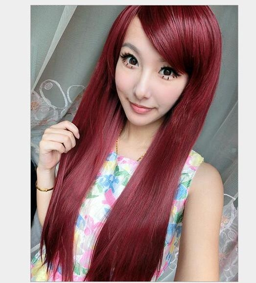 Cheap 2016 Hot Fashion Long Straight Burgundy Korean Non Intended For Korean Long Haircuts For Women With Red Hair (View 12 of 15)
