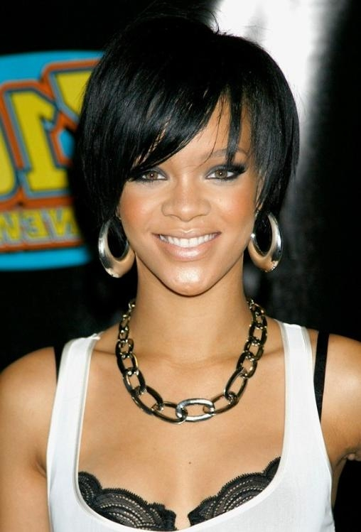Cute African American Hairstyles From Rihanna: Cute Bob Cut With Regard To Best And Newest Rihanna Bob Hairstyles (View 5 of 15)