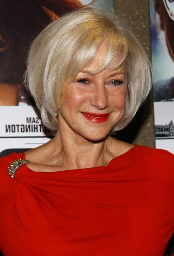 Helen Mirren Short Bob Hairstyle For Women Over 60s – Hairstyles In Current Bob Hairstyles For Old Women (View 7 of 15)