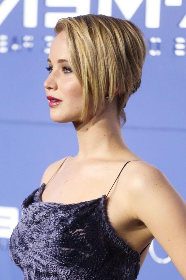 Jennifer Lawrence Bob Haircut – Asymmetrical Hairstyle With Most Up To Date Jennifer Lawrence Short Bob Haircuts (View 4 of 15)
