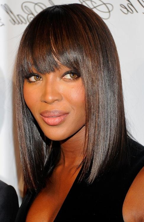 Latest Bob Hairstyles For Black Women With Sleek Bangs For Sleek Demi Bob With Straight Bangs – Naomi Campbell Hair Style (View 13 of 15)