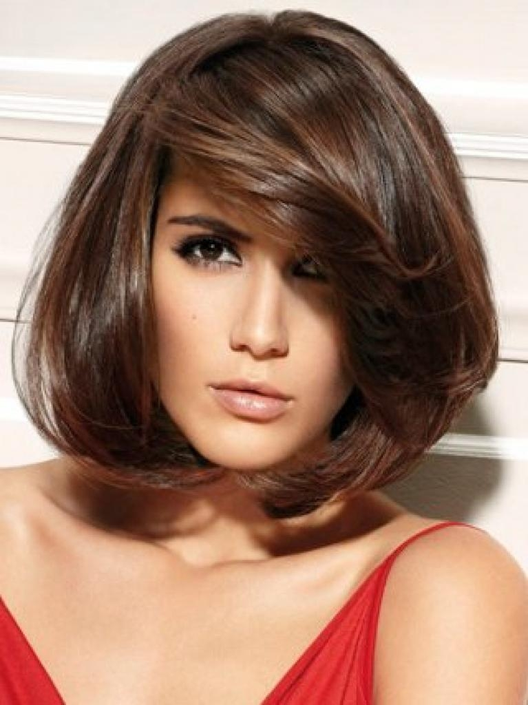 layered haircuts for medium hair with bangs 2018 popular medium length bob hairstyles with bangs 5445