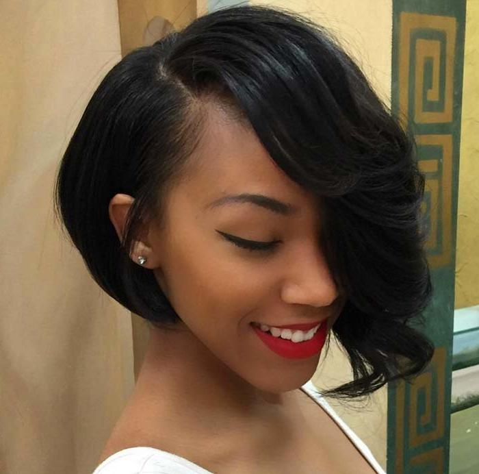 Most Popular Asymmetrical Bob Hairstyles For Black Women Pertaining To 100 Short Hairstyles For Women: Pixie, Bob, Undercut Hair (View 9 of 15)
