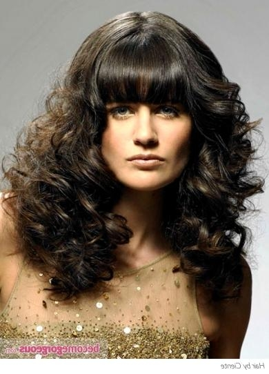 Permed Hairstyle With Straight Bangs Pertaining To Long Permed Hairstyles With Bangs (View 10 of 15)
