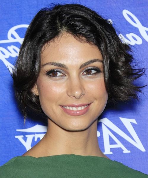 Popular Morena Baccarin Bob Hairstyles In Morena Baccarin Short Straight Casual Bob Hairstyle – Black Hair Color (View 9 of 15)