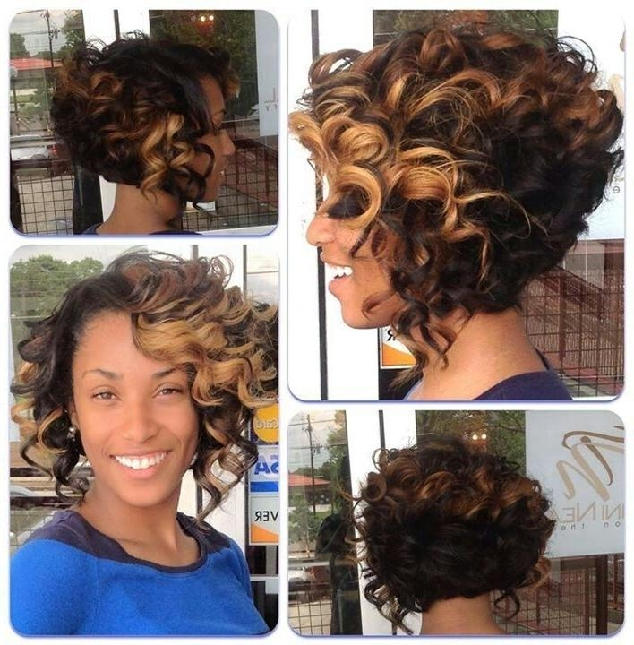 Short Ombre Curly Hairstyle For Black Women – Hairstyles Weekly Inside 2017 Curly Bob Hairstyles For Black Women (View 14 of 15)