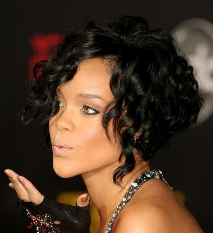 Well Known Rihanna Bob Hairstyles With Weave Pertaining To Rihanna Black Curly Bob Hairstyle – Hairstyles Weekly (View 11 of 15)