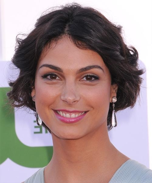 Well Liked Morena Baccarin Bob Hairstyles Pertaining To Morena Baccarin Short Wavy Casual Bob Hairstyle – Black Hair Color (View 13 of 15)