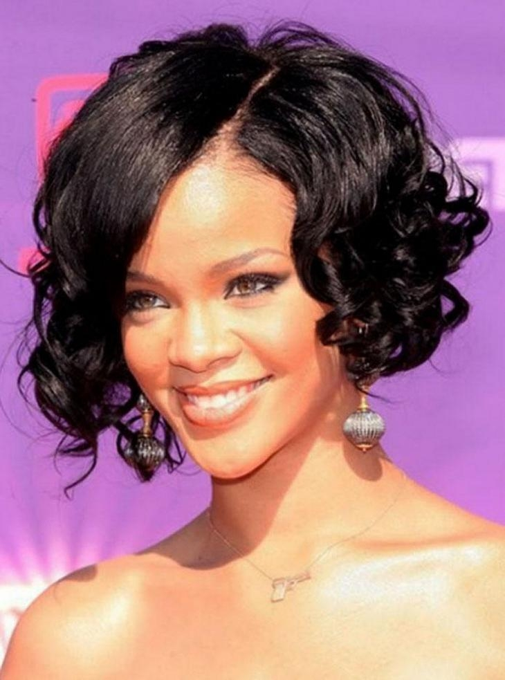 Widely Used Rihanna Bob Hairstyles With Weave Inside Curly Weave Bob Hairstyle (View 13 of 15)