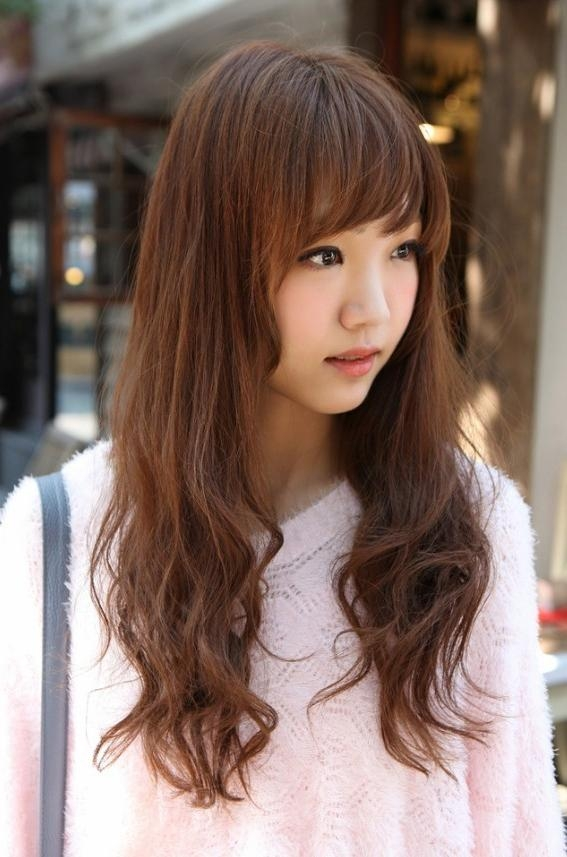 14 Prettiest Asian Hairstyles With Bangs For The Sassy College Throughout Korean Girl Long Hairstyles (View 2 of 15)