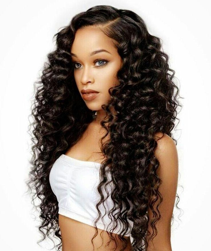 2018 Curly Long Hairstyles For Black Women With Regard To Best 25+ Black Weave Hairstyles Ideas On Pinterest | Black Weave (View 2 of 15)