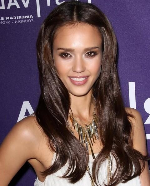 2018 Jessica Alba Long Hairstyles Regarding Alba Long Hairstyles Lovely Long Center Parted Hairstyle (View 1 of 15)