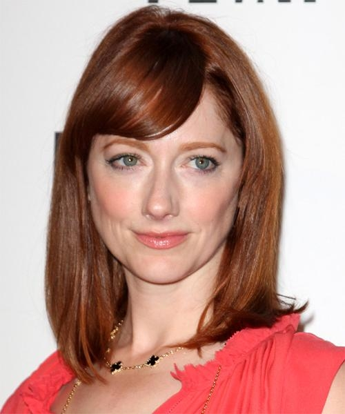 2018 Judy Greer Shoulder Length Bob Hairstyles Intended For Judy Greer Medium Straight Formal Hairstyle – Dark Red (Auburn (View 1 of 15)