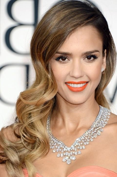 2018 Side Long Hairstyles With Regard To Jessica Alba Long Hairstyles: Stylish Side Parted Long Curls (View 4 of 15)