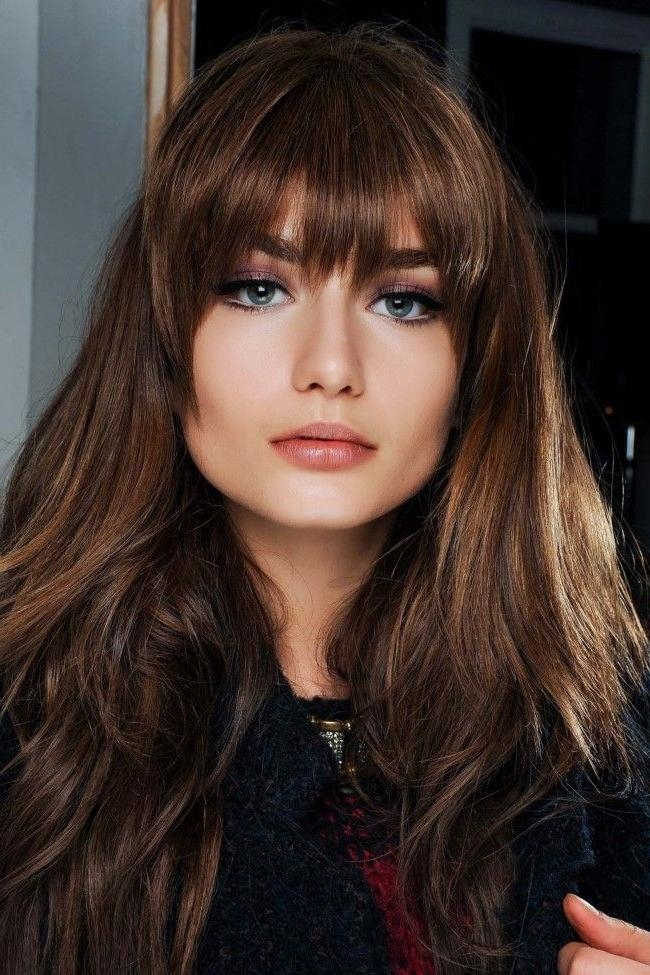 Best And Newest Long Hairstyles With Full Fringe Pertaining To Best 25+ Full Fringe Long Hair Ideas On Pinterest | Bangs Long (View 5 of 15)